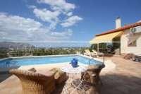 Chalet como nuevo en Pedreguer con varios extras y maravillosas vistas panoramicas - Terraza de la piscina